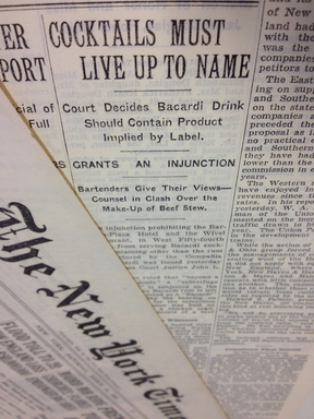 "Article from April 29, 1936, reporting that a ""subterfuge and a fraud"" is subjected on the purchaser when Bacardi rum is left out of a drink listed as a ""Bacardi"" cocktail."