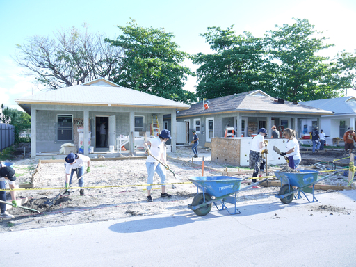 As part of CR Month activities, Bacardi USA employees build affordable homes for Habitat for Humanity in Miami.