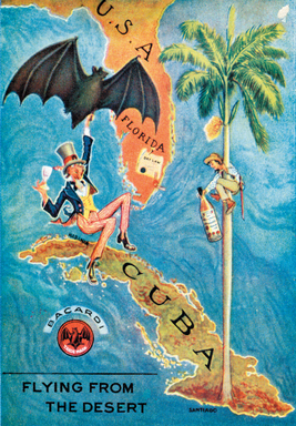 "One of the most memorable BACARDI rum ads is a 1920s postcard during US Prohibition, Uncle Sam holding a cocktail, flying away from ""dry"" USA to ""wet"" Cuba on the wings of a bat."
