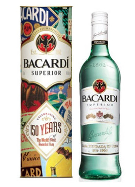 The limited-edition BACARDÍ Superior rum 150th anniversary specialty pack in travel retail locations is decorated with vibrant historical advertising imagery.