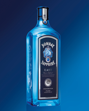 BOMBAY SAPPHIRE East is named for the flavors of Asia—Thai lemongrass and Vietnamese black peppercorns—which give a spicy, full nose and taste to create the perfect gin and tonic.