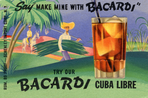 A memorable BACARDÍ rum ad in the U.S. features scenes from its Cuban homeland in the 1930s and reminds consumers to ask for BACARDÍ by name when ordering a BACARDÍ Cuba Libre.