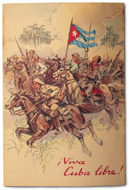 "1950s BACARDÍ ad features patriotic soldiers that fought against Spain in Cuba's War of Independence—¡Viva Cuba libre!—the battle cry by revolutionaries of ""Long live a free Cuba!"""