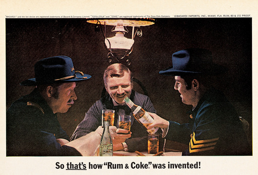 Celebrating the cocktails creation in 1900, the first joint ad by BACARDÍ rum and Coca-Cola® for the Cuba Libre depicts American soldiers mixing BACARDÍ rum & Coke®; 1966 U.S.
