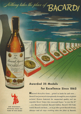 In a 1944 ad, BACARDÍ rum is recognized for innovations in quality and taste. The award-winning rum won accolades alongside other notable creations including the Eiffel Tower.