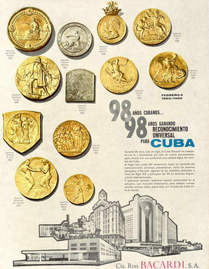 The last Bacardi Cuban ad from 1960 touts the 98-years of excellence in fine BACARDÍ rum-making in Cuba with a display of the first medals awarded to BACARDÍ rum.