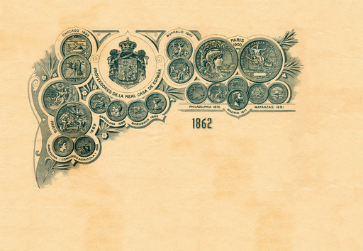 1930s company letterhead features prestigious medals awarded to BACARDÍ rum including the Spanish royal designation. BACARDÍ rum is known as The King of Rums and the Rum of Kings.