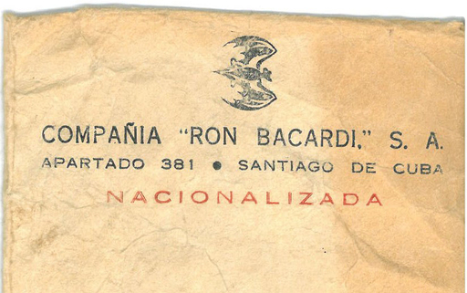 Bacardi company letterhead featuring the word 'nacionalizada' and the bat logo turned sideways, to denote it was seized after 98 years of operation in Cuba.