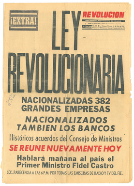 Oct. 13, 1960 newspaper front page reports the new Cuban Revolutionary government would nationalize all major industries putting an end to private property and ownership in Cuba.