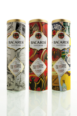 Gift or collect all three BACARDÍ 150th anniversary tins which holds a bottle of BACARDÍ Superior rum.