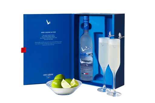 GREY GOOSE vodka offers a luxurious gift box with crystal glasses and the recipe for making a perfect GREY GOOSE Le Fizz, the ultimate cocktail for festive celebrations at home.