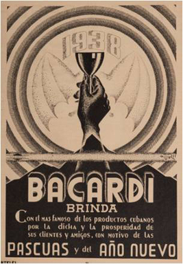 "The oldest holiday ad in The Bacardi Archive ─ a reminder to drink BACARDÍ to ""Toast with the most famous Cuban product to joy and prosperity to celebrate the holidays and the New Year"" in 1938."