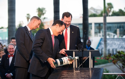 "Chairman Facundo Bacardi christens the Time Capsule following Bermudian tradition of ""wetting"" new structures with BACARDÍ rum at the Bacardi global headquarters."