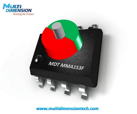 The MDT MMA153F TMR magnetic angle sensor can measure the angular position of a rotating magnet.