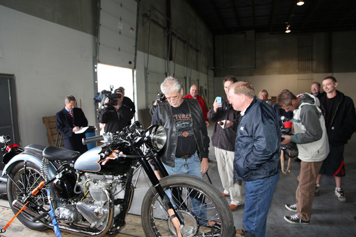 NICB agent Lou Koven reunites Don Devault with 1953 Triumph stolen in 1967