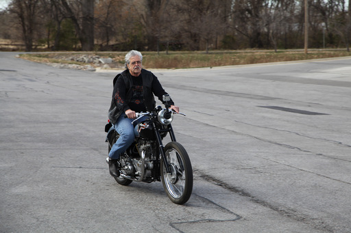 73 year old Don Devault rides his 1953 Triumph motorcycle for the first time since it was stolen 46 years ago.