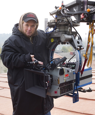 Mission: Impossible - Ghost Protocol Director Brad Bird with IMAX® camera (Photo credit: David James(c) 2011 Paramount Pictures.  All Rights Reserved).