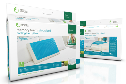 Comfort Revolution's Hydraluxe pillow packaging. Sleep Cool. Wake Happy.