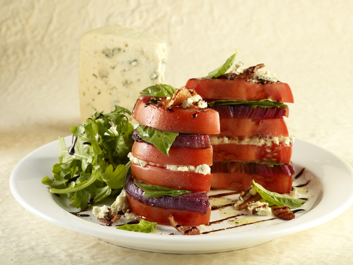 Organic Tomato Stack Salad – with arugula, blue cheese, chopped bacon and a balsamic glaze