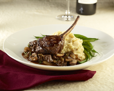 Grilled Venison Chop on Venison & Mushroom Ragout – with truffle mashed potatoes
