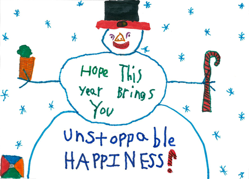 Addison, a courageous eight-year-old fighting Acute Lymphoblastic Leukemia, created the Share Unstoppable Happiness holiday card.