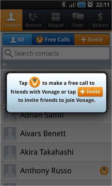 Vonage Mobile® users can easily invite one – or many – contacts directly from their address book, building their global free calling and texting network.