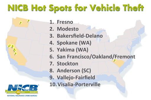 NICB's 2011 Hot Spots Top 10 List Once Again Dominated by West Coast Cities
