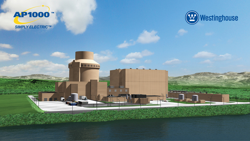 Rendering of the Westinghouse AP1000® Nuclear Power Plant.  The Nuclear Regulatory Commission certified the AP1000 design, allowing for future construction in the United States.