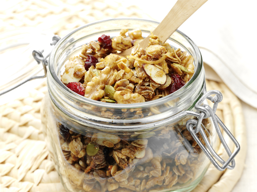 For a nutritious snack, try the Crunchy Cranberry Granola filled with oats, almonds and pecans