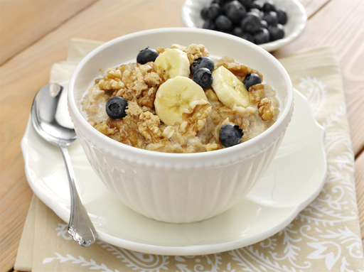 For a fresh twist on oatmeal, try the Simply Delicious Walnut Oatmeal filled with chopped walnuts and sliced fruit