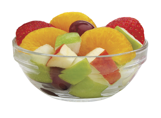 A nutritious fruit mix made with mandarin orange segments, strawberry slices, red and green apple pieces, and red grapes, the small fruit cup contains 50 calories and zero grams of fat.