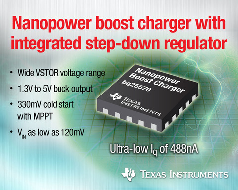 Nanopower boost charger with integrated step-down regulator