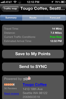 SYNC Destinations lets consumers find and send future destinations to their car right from their mobile phone making navigation faster and easier on the road.