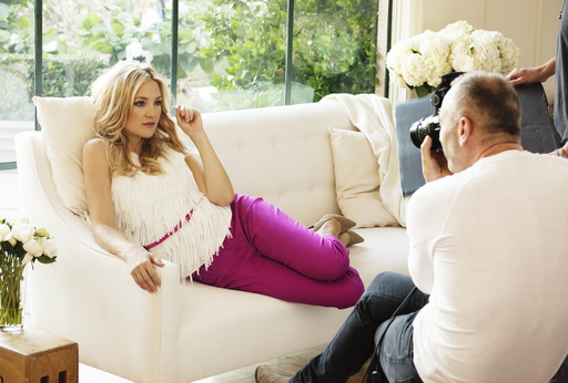 Kate Hudson looks right at home while shooting Ann Taylor's Spring 2012 ad campaign at a private estate in Los Angeles