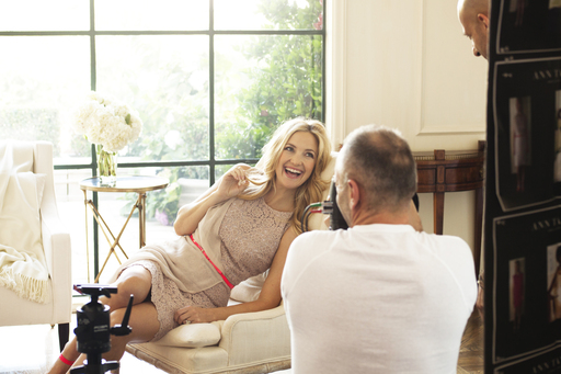 Kate Hudson and famed fashion photographer Tom Munro collaborate for Ann Taylor's Spring 2012 ad campaign photo shoot in Los Angeles