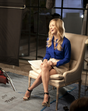 Kate Hudson prepares for her day on set while shooting Ann Taylor's Spring 2012 ad campaign in Los Angeles