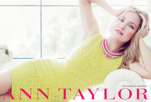 Kate Hudson wears Ann Taylor's Green/Yellow Lace Shift Dress and Supernova Statement Necklace in the brand's Spring 2012 ad campaign