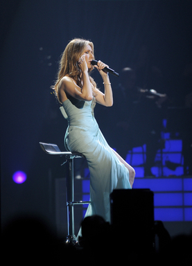 Celine Dion performs at the Play Without Pain: Children's Sickle Cell Benefit on Jan. 15, 2012 at The Colosseum at Caesars Palace in Las Vegas (Photo by Denise Truscello/WireImage)