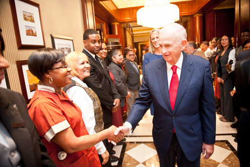 Bill Marriott thanks associates from New York's Essex House, which returned to the Marriott portfolio as a JW Marriott this year. Credit - Stephen Grande, Jr.