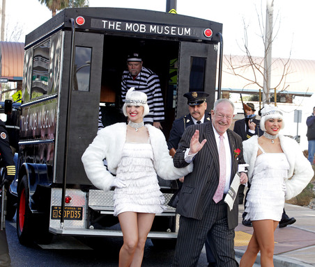 The Mob Museum, celebrated its grand opening with fanfare and flappers in downtown Las Vegas on February 14, 2012, with former Mayor Oscar Goodman.