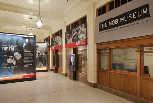 The lobby of The Mob Museum, the National Museum of Organized Crime and Law Enforcement, former federal courthouse and U.S. Post Office, opened to the public on February 14, 2012.