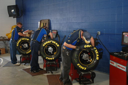 Goodyear Eagle race tires are mounted prior to a NASCAR event. The Goodyear Tire & Rubber Company is the exclusive tire supplier to NASCAR's Sprint Cup, Nationwide and Camping World Truck Series.