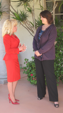 Irene Valenti of Valenti International discusses fundraising campaign with Suzanne Wells of Empty Cradle