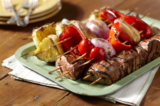 Beef Shish Kabob with Pineapple Chunks, Shallots and Red Peppers