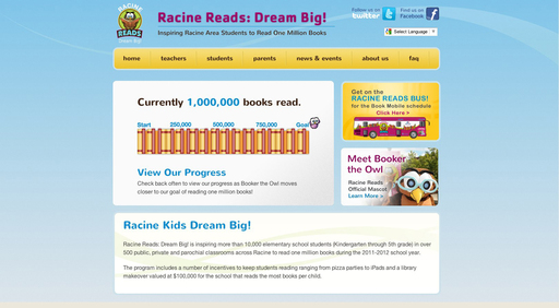 Racine Reads: Dream Big! hits the one million book goal after just 18 weeks of the program. Elementary school students in Racine, Wis., celebrate reading and literacy.