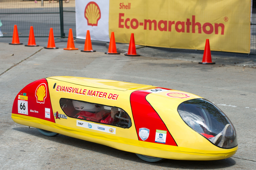 Students from Mater Dei High School in Evansville, Ind. achieved an astonishing 2,188.6 mpg with their gasoline-powered Prototype vehicle at Shell Eco-marathon Americas 2012 in downtown Houston, which took place March 29- April 1