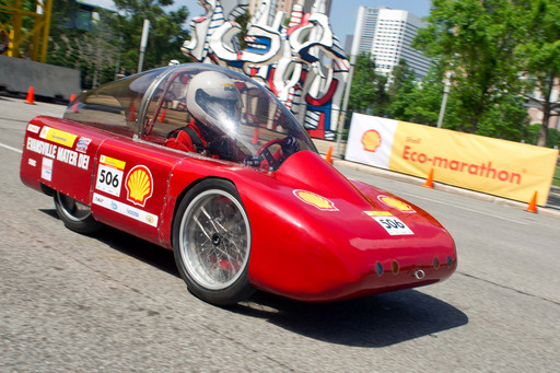 In the UrbanConcept class, Mater Dei High School achieved the highest miles per gallon with a best run of 611 mpg with their gasoline-powered vehicle. Shell Eco-marathon Americas 2012 took place in downtown Houston March 29- April 1