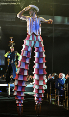 Cast members from the Beatles 'Love' by Cirque du Soleil perform onstage during The 2012 MusiCares Person Of The Year Gala Honoring Paul McCartney at Los Angeles Convention Center on February 10, 2012 in Los Angeles, CA.  (Photo by Lester Cohen/WireImage)