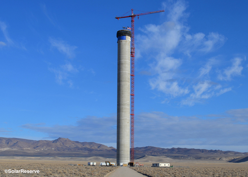 SolarReserve's Crescent Dunes Solar Energy Plant power tower stands at 540 feet in Tonopah, Nev. When completed, the plant will be the largest solar power project of its kind in the world.