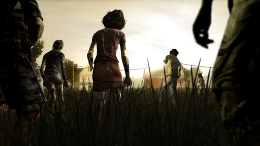 Walkers approach Hershel's Farm in The Walking Dead, A Telltale Games Series.